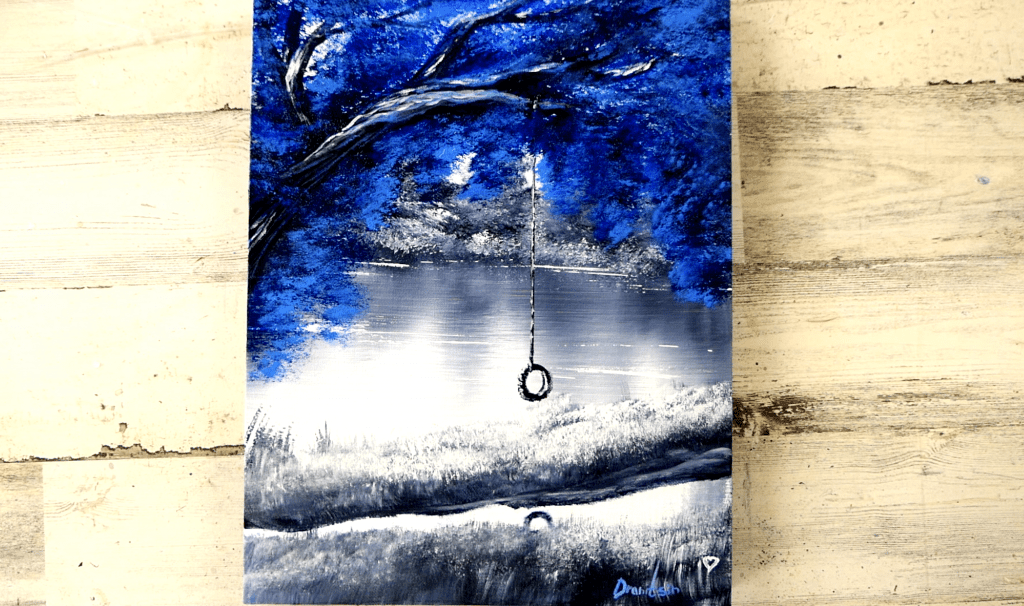 Blue tree abstract painting by Peter Dranitsin, black and white landscape