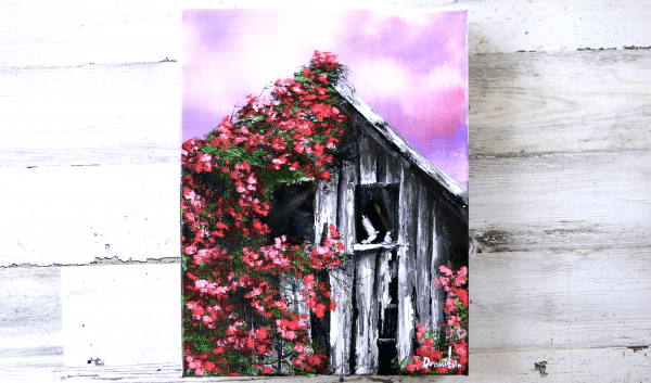 Old Barn in Red Wild Roses acrylic painting by Dranitsin