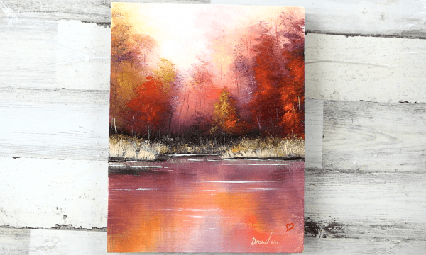 7 steps to paint Autumn Reflections   September Landscape Painting   Oval Brush Art