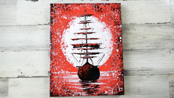 Abstract Ship black white red by Peter Dranitsin