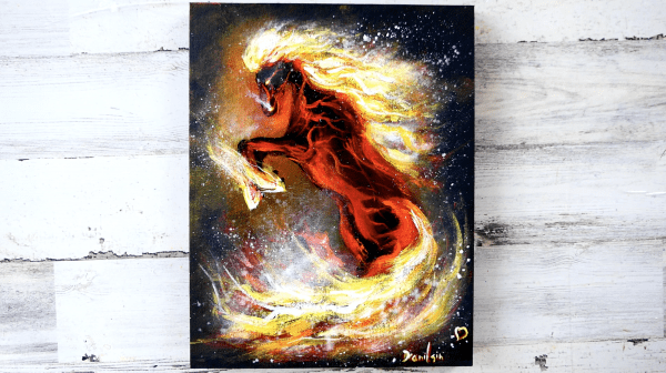 fire horse original acrylic painting by Dranitsin