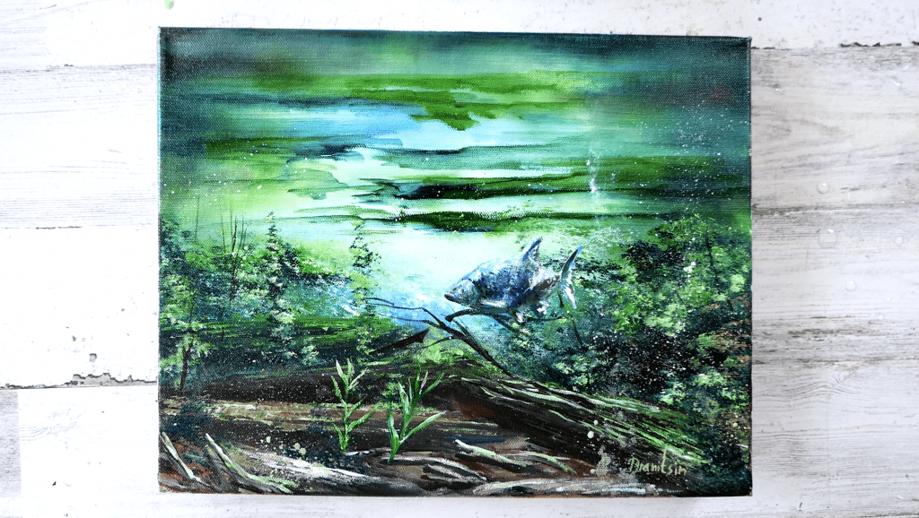 fish in the sunlight acrylic painting by Peter Dranitsin
