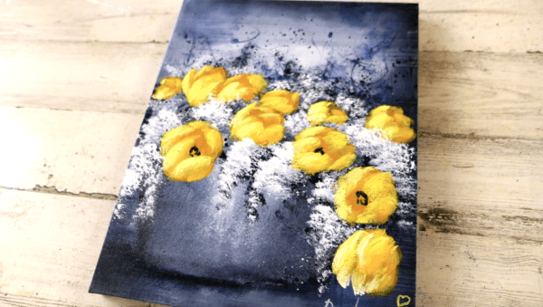 11 Yellow Tulip Flowers | Black and White Abstract Art | Easy for Beginners | Acrylics