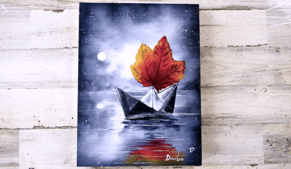 Autumn Leaf and Origami Boat