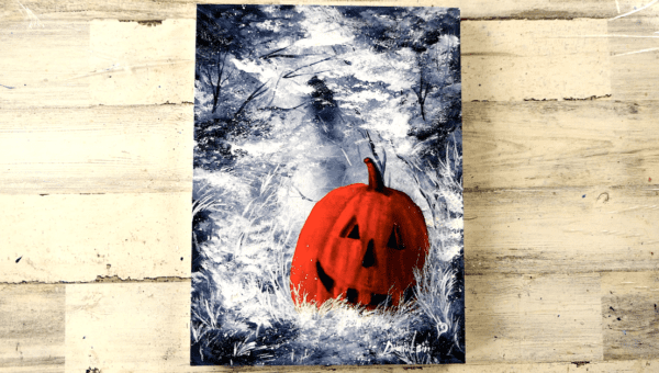 Pumpkin Halloween Abstract Painting Easy for Beginners Black and White Landscape by Peter Dranitsin0