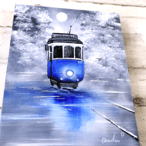 blue trolly painting by Dranitsin Peter0