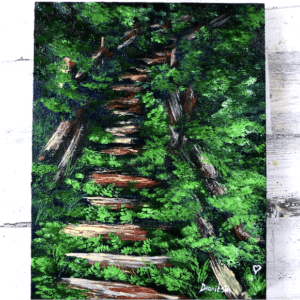 green nature staircase acrylic painting tutorial by Dranitsin Peter