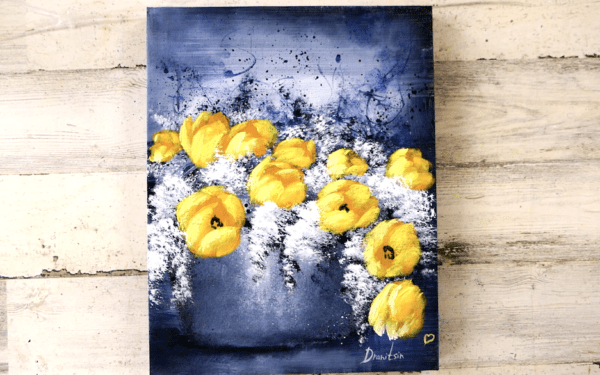 yellow tulip flowers abstract painting by Peter Dranitsin easy for beginners