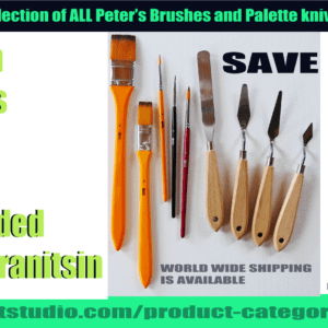 13 piece set of brushes and palette knives recommended by Peter Dranitsin