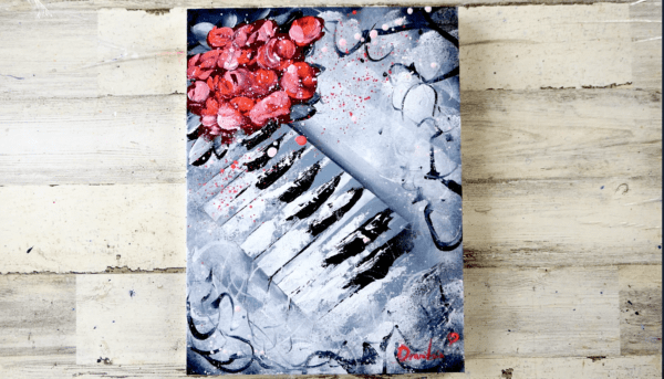 ABSTRACT PIANO AND ROSES, ACRYLIC ART, BLACK AND WHITE, MODERN ART BY PETER DRANITSIN