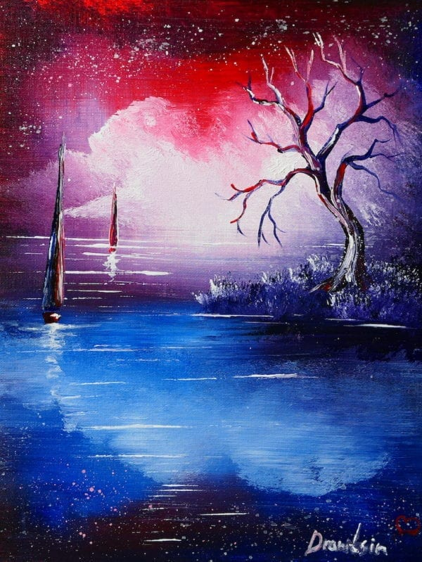 ABSTRACT SEASCAPE PAINTING BY PETER DRANITSIN, ACRYLIC ART, RED AND BLUE REFLECTIONS, exclusive paintings3