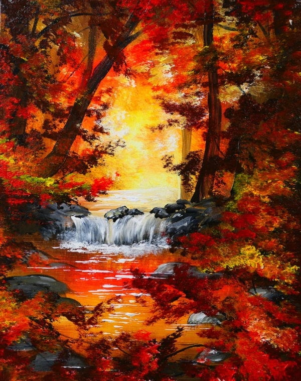AUTUMN WATERFALL ACRYLIC ABSTRACT PAINTING BY PETER DRANITSIN, UNIQUE MODERN ART
