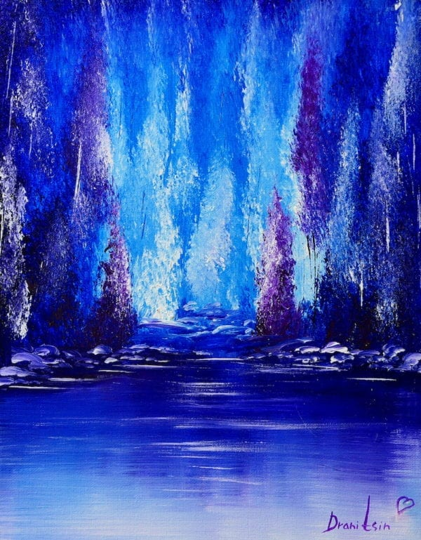 BLUE ABSTRACT LANDSCAPE PAINTING BY PETER DRANITSIN, ACRYLIC ART, MODERN PAINTING, CONTEMPORARY ART