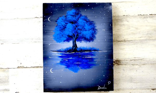 BLUE TREE AT NIGHT, ACRYLIC PAINTING, UNIQUE ART, ABSTRACT PAINTING BLACK AND WHITE BY PETER DRANITSIN