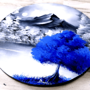 Blue Tree | Easy Painting for Beginners | Abstract | Black and White Landscape | Round Canvas by Peter Dranitsin
