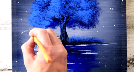 Blue Tree at Night Member Only Exclusive Art Video Lesson