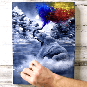 Elephant Spraying Colors | Easy Painting for Beginners | Black and White Abstract Landscape by Peter Dranitsin Acrylics3
