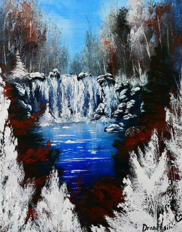 FROZEN WATERFALL, WINTER LANDSCAPE, ACRYLIC PAINTING BY PETER DRANITSIN, ABSTRACT ART