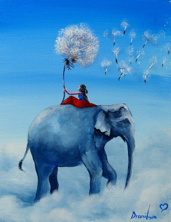 GIRL AND ELEPHANT WALKING ON CLOUDS WITH DENDELION FLOWER BLOWING IN THE WIND BY PETER DRANITSIN ABSTRACT ART ACRYLIC PAINTING