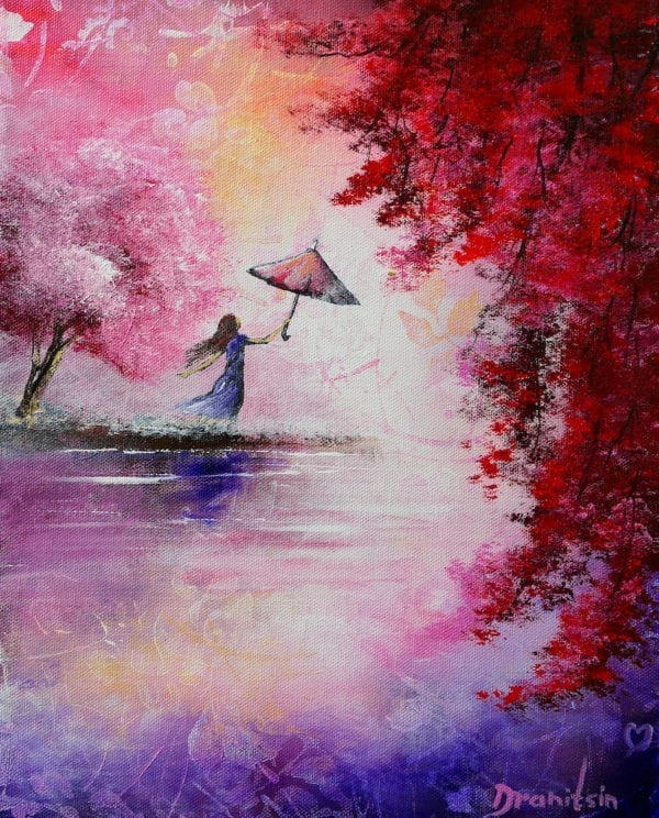 GIRL AND UMBRELLA, RED TREE, PINK LANDSCAPE, ACRYLIC ART, MODERN PAINTING BY PETER DRANITSIN