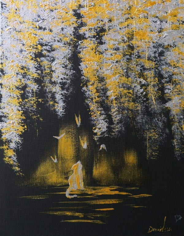 GOLD AND SILVER LANDSCAPE ON BLACK CANVAS BY PETER DRANITSIN, CAT AND BUTTERFLY