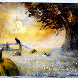 HALLOWEEN PAINTING, ABSTRACT LANDSCAPE, ACRYLIC ART, BY PETER DRANITSIN
