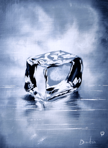 Ice Cube | Black and White | Easy Painting for Beginners | Abstract | Acrylics