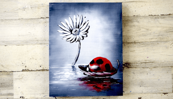 LADY BUG, WHITE FLOWER, ACRYLIC PAINTING, ABSTRACT ART, BLACK AND WHITE BY PETER DRANITSIN