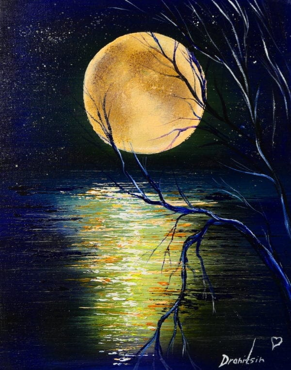 MOON REFLECTION IN WATER, ACRYLIC ABSTRACT PAINTING BY PETER DRANITSIN, ABSTRACT ART