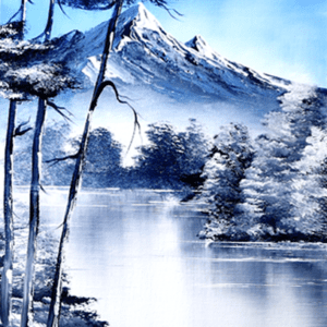 Mountain Lake | Easy Acrylic Painting for Beginners | Abstract Black and White Landscape by Peter Dranitsin