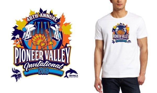 2018 48th Annual Pioneer Valley Invitational MA SWIM logo design
