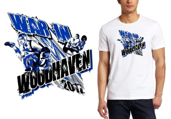 PRINT 017 War In Woodhaven wrestling logo design