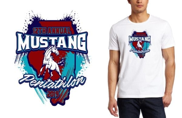 PRINT 2019 12th Annual Mustang Pentathlon logo design