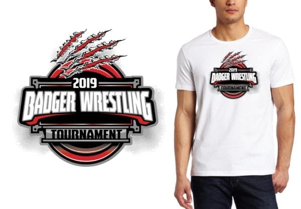 PRINT 2019 Badger Wrestling Tournament IL logo design