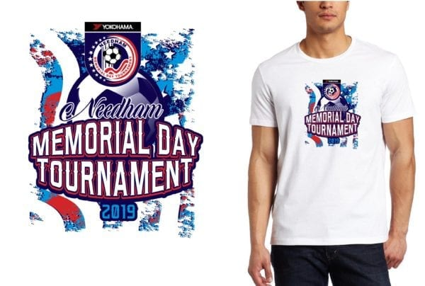 PRINT 2019 Needham Memorial Tournament MA SOCCER logo design