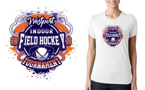PRINT 2019 Westport Indoor Field Hockey Tournament MA logo design