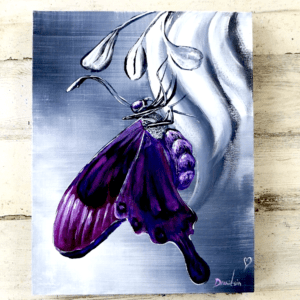 PURPLE BUTTRERFLY, ABSTRACT ART, UNIQUE PAINTING, DRANITSIN, BLACK AND WHITE