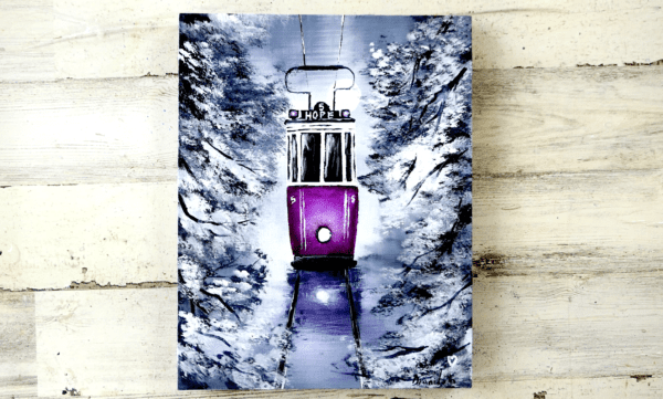 PURPLE TROLLY, ABSTRACT PAINTING, ACRYLICS, BLACK AND WHITE