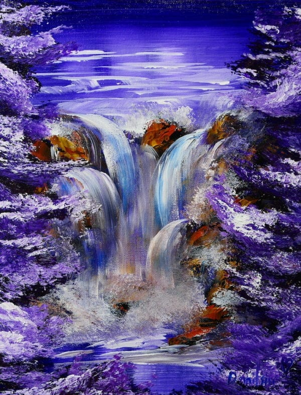 PURPLE WATERFALL ACRYLIC PAINTING BY PETER DRANITSIN, MODERN ART, UNIQUE PAINTING, ABSTRACT