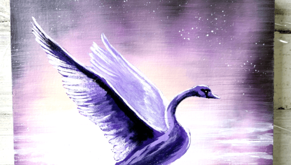 Purple Swan, acrylic painting by Peter Dranitsin, abstract background