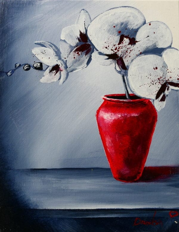 RED VASE AND WHITE ORCHID FLOWERS BY PETER DRANITSIN, BLACK AND WHITE ABSTRACT BACKGROUND, ACRYLIC UNIQUE PAINTING
