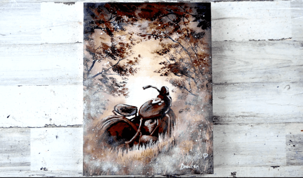 RUSTED OLD MOTORCYCLE, ACRYLIC PAINTING, ABSTRACT ART, BEAUTIFUL PAINTING, BY PETER DRANITSIN
