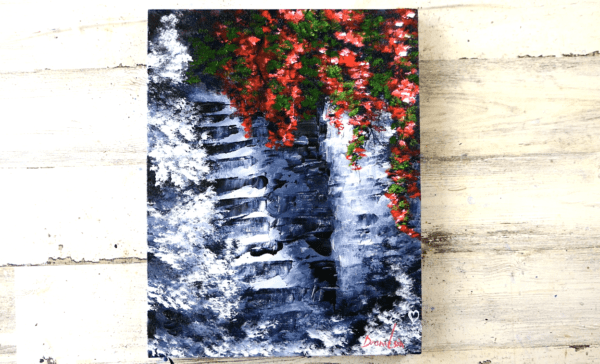STONE STAIRCASE WITH ROSES, ABSTRACT ART, ACRYLICS, BLACK AND WHITE, BY PETER DRANITSIN