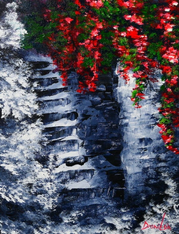 Stone Steps Staircase and Roses acrylic painting by peter dranitsin, abstract art, black and white background, unique painting