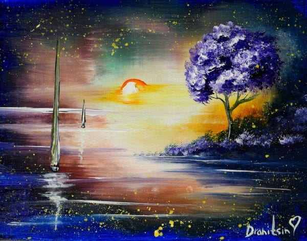 UNIQUE ABSTRACT SEASCAPE PAINTING BY PETER DRANITSIN, ACRYLICS, SUNSET, NIGHT PAINTING