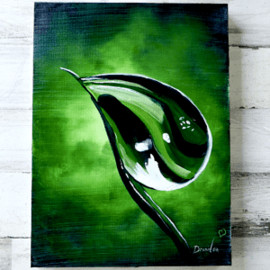 WATER DROPLET, ABSTRACT ART, ABSTRACT PAINTING BY PETER DRANITSIN, GREEN LEAF