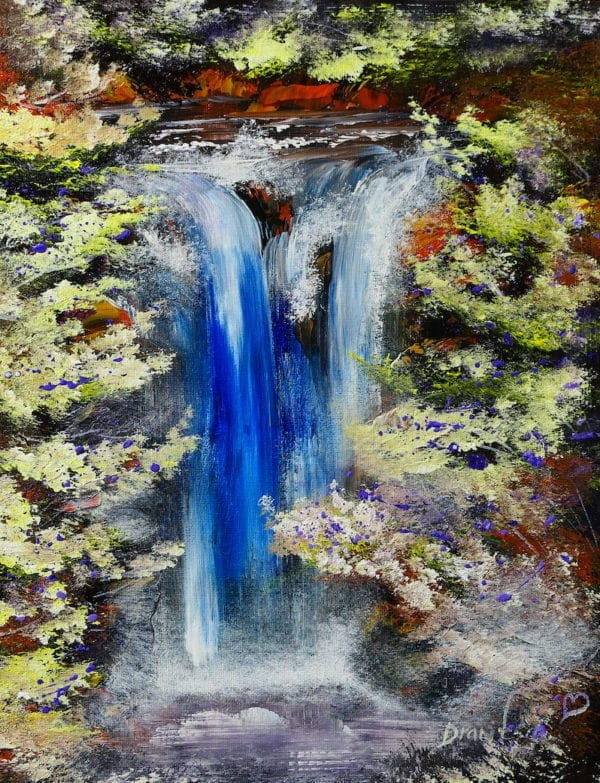WATERFALL AND GOLDEN LANDSCAPE, ACRYLIC PAINTING BY PETER DRANITSIN, MODERN ART, ABSTRACT