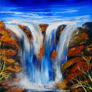 WATERFALL PAINTING, BY PETER DRANITSIN, ACRYLICS, ABSTRACT