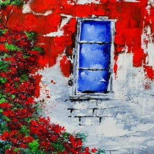 WINDOW AND ROSES, STONE WALL, ACRYLIC ABSTRACT ART BY PETER DRANITSIN