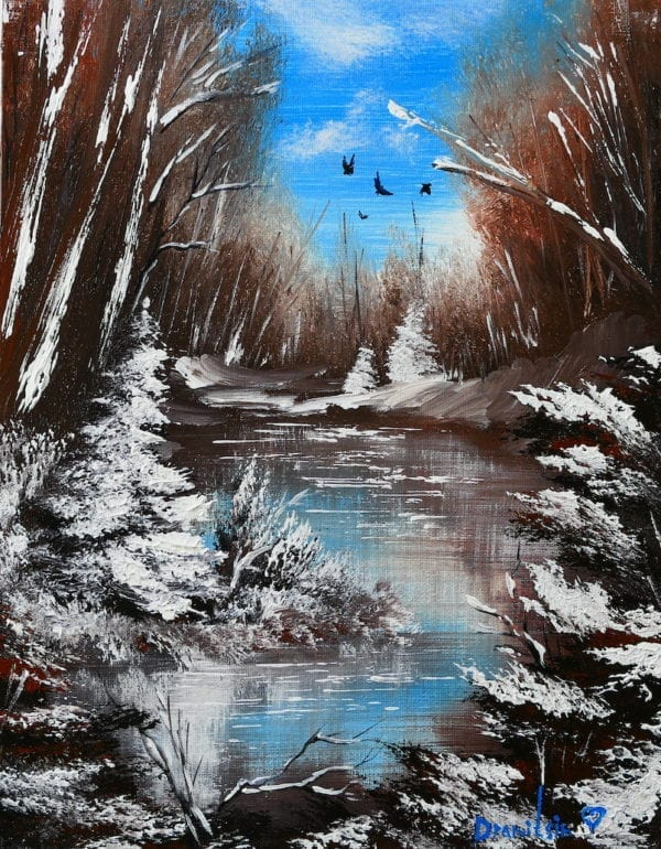WINTER LANDSCAPE, ABSTRACT ART BY PETER DRANITSIN, ACRYLIC PAINTING, exclusive paintings7